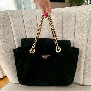 Prada bag suede leather black